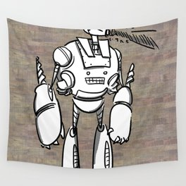 Happy Robot and his Blaster Wall Tapestry
