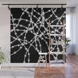 Trapped White on Black Wall Mural