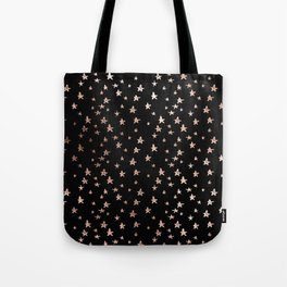 Black & Rose Gold Star Pattern Tote Bag