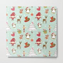 Christmas Elements Reindeer Design Pattern Metal Print