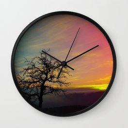 Old tree and colorful sundown panorama | landscape photography Wall Clock