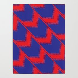 Red and blue diagonal pattern Poster