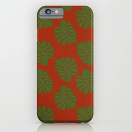 Green Leaves - Seamless Pattern, Red Background iPhone Case