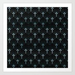 Teal Art Deco,art nouveau pattern, art deco black teal pattern, chic,elegant,great Gatsby,belle epoq Art Print