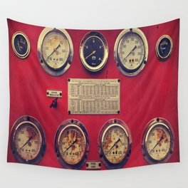 Old Gauges on a Fire Truck Wall Tapestry