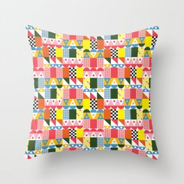 Ray Mid Century Modern Geometric Pattern Small Scale Throw Pillow