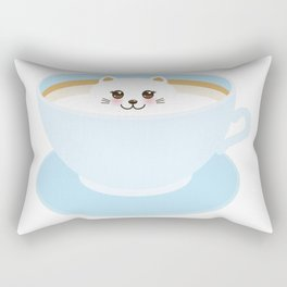 Cute Kawai cat in blue cup Rectangular Pillow