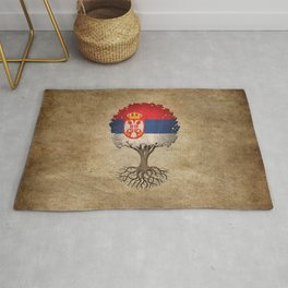 Vintage Tree of Life with Flag of Serbia Rug