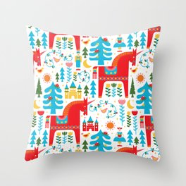 Scandinavian Inspired Fairytale - Bright Throw Pillow