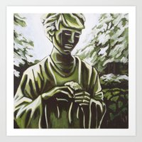 real madrid Art Prints featuring Statue in Palace Real Gardens, Madrid, Spain by Laura Teed