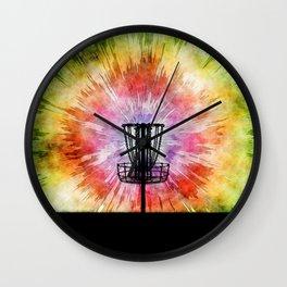 Tie Dye Disc Golf Basket Wall Clock