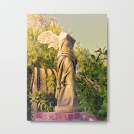 Broken Angel Statue with Oil Paint effects Metal Print
