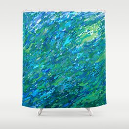 Shades Of Blue Waterfall Shower Curtain