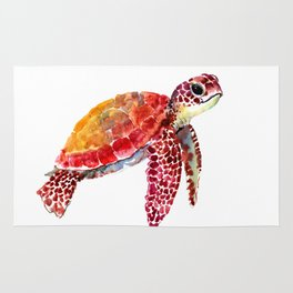 Baby Turtle decor, nursery art decor children room orange red Rug