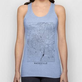 Nashville White Map Unisex Tank Top