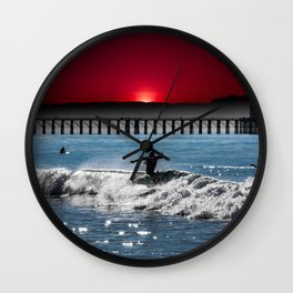 CLOSE OUT RED SUNSET Wall Clock