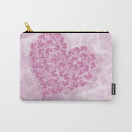 Delicate pink butterflies on a silky pink background Carry-All Pouch