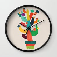 cactus Wall Clocks featuring Whimsical Cactus by Picomodi