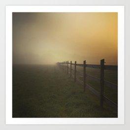 Misty Sunrise on the Farm Art Print