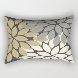Bold Colorful Gold Ivory Charcoal Grey Dahlia Flower Burst Petals Rectangular Pillow