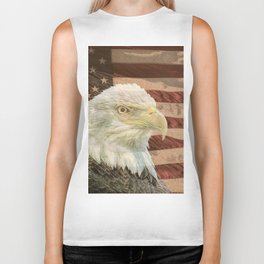 Rustic Bald Eagle on American Flag A213 Biker Tank