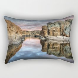 USA Arizona, Prescott, Watson lake Crag HDRI Nature Lake Clouds HDR Rock Cliff Rectangular Pillow