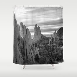 Garden of the Gods - Colorado Springs Landscape in Black and White Shower Curtain