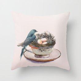 Bird nest in a teacup Throw Pillow