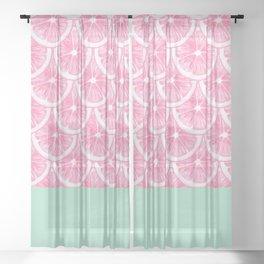 Zesty splice - pink grapefruit Sheer Curtain