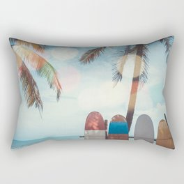 Surf Life Tropical Coastal Landscape Surfboard Scene Rectangular Pillow