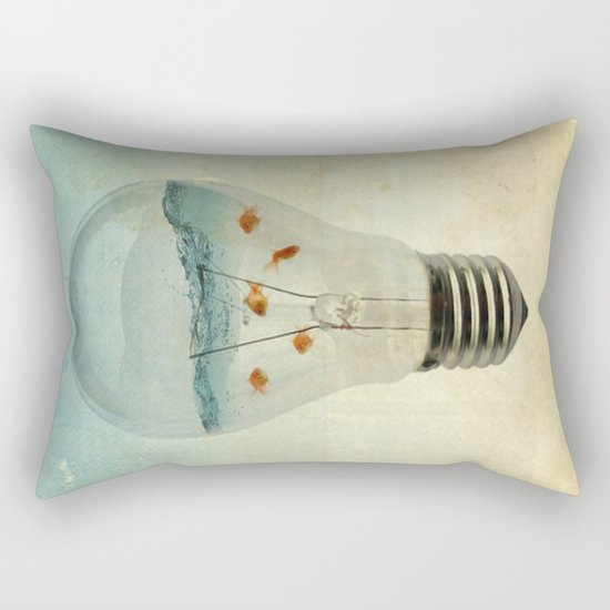 blue sea thinking Rectangular Pillow