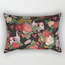Opossum Floral Pattern (with text) Rectangular Pillow