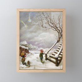 The Truth About Comets winter landscape surrealism painting by Dorothea Tanning Framed Mini Art Print