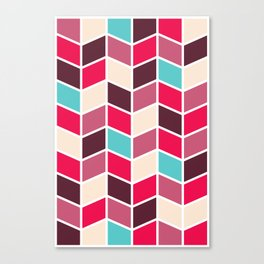 RED 'N' BLUE RETRO HERRINGBONE PATTERN Canvas Print
