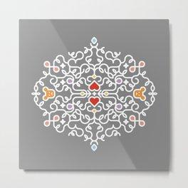 Teddy Bear Heart Intricate Decorative Swirl Metal Print