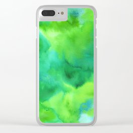 Vibrant Green Watercolor Clear iPhone Case