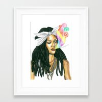 2pac Framed Art Prints featuring supreme Rihanna by Alena Lytkina