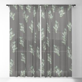 Eucalyptus Sprig on Black Sheer Curtain