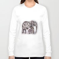 mom Long Sleeve T-shirts featuring Mom Eephant by Harsh Malik
