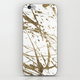 Artistic white abstract faux gold paint splatters iPhone Skin