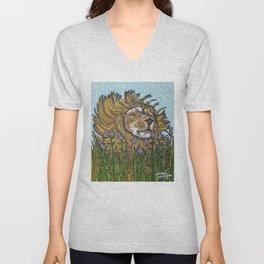 Lion in Lavender Painting Unisex V-Neck