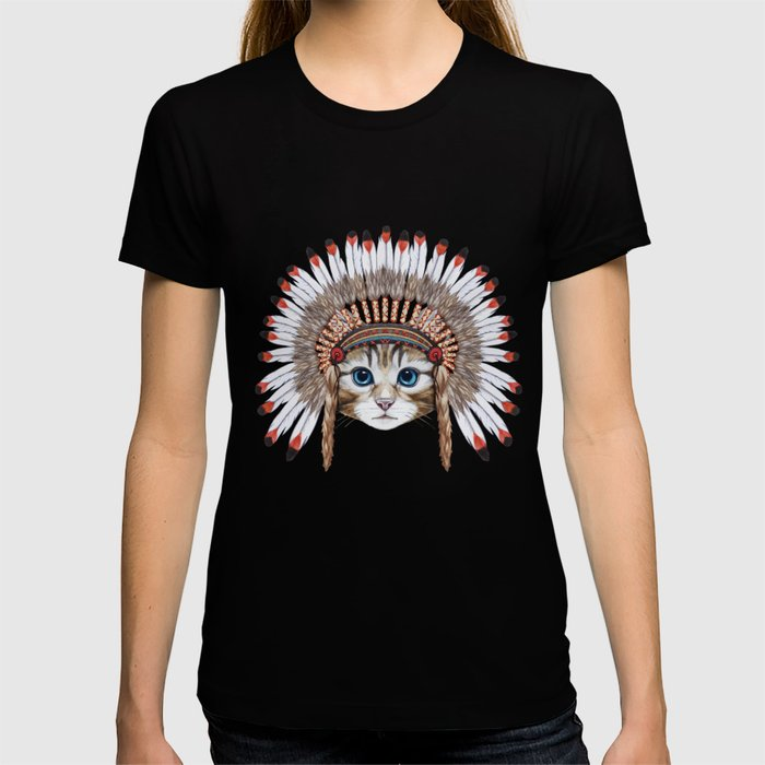 Portrait  of Cat in war bonnet. T-shirt