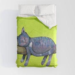 Sleeping purple cat Comforters