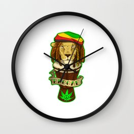 Rasta Reggae Lion Wall Clock