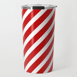Red Diagonal Stripes Travel Mug