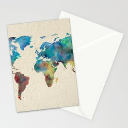 World Map Watercolor Linen Blue Red Yellow Green Stationery Cards