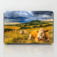 cows iPad Cases featuring Resting Cows by David Pyatt