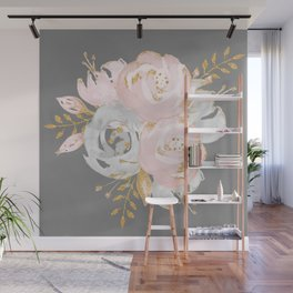 Night Rose Garden Gray Wall Mural