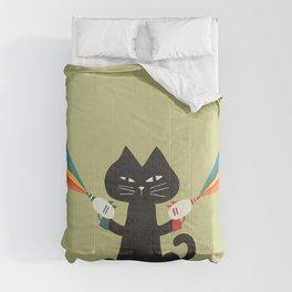 Ray gun cat Comforters