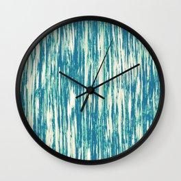 Ikat Streaks in Aqua Wall Clock